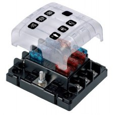 BEP Marinco 6 Way Blade Fuse Block with Screw Terminals - Incl Cover, Link and Labels - 113632 (SUR ATC-6W)