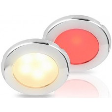 Hella EuroLED 75 Series Downlights - 12V DUAL Warm White/Red Light with Stainless Steel Rim (2JA015247121)