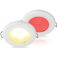 Hella EuroLED 75 Series Downlights - 12V DUAL Warm White/Red Light with White Rim with Spring Mount (2JA015247611)