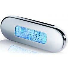 Hella Marine Oblong Blue LED Step Light - Surface Mount with Polished Stainless Rim - 12-24Volt DC (2XT980869601)