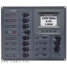 BEP Marinco Contour AC Mains Panel with Manual Changeover Switch + 8 Circuit Breakers + Digital Meter - Horizontal (113222 - SUR 900-AC2H-ACSM)