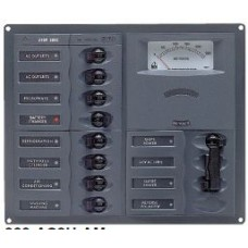 BEP Marinco Contour AC Mains Panel with Manual Changeover Switch + 8 Circuit Breakers + Analog Volt Meter - Horizontal (113224 - SUR 900-AC2H-AM)