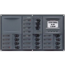BEP Marinco Contour AC Mains Panel with Manual Changeover Switch + 12 Circuit Breakers + Digital Meter (113230 - SUR 900-AC3-ACSM)