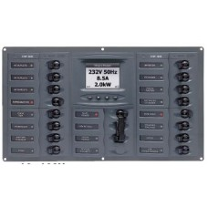 BEP Marinco Contour AC Mains Panel with Manual Changeover Switch + 16 Circuit Breakers + Digital Meter (113234 - SUR 900-AC4-ACSM)