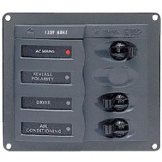 BEP Marinco Contour AC Mains Panel with Mains Switch + 2 AC Circuit Breakers (113219 - SUR 900-ACM2W)
