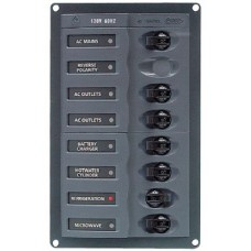 BEP Marinco Contour AC Mains Panel with Mains Switch + 6 AC Circuit Breakers 113221 - (SUR 900-ACM6W)