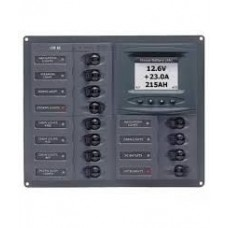 BEP Marinco Contour 12 Circuit Breaker DC Panel - Square with Digital Meter (113150 - 902-DCSM)