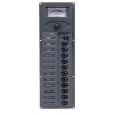 BEP Marinco Contour 12 Circuit Breaker DC Panel - Vertical with 12V Analog Voltmeter (113145 - 902V-AM)