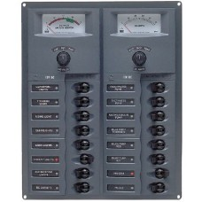 BEP Marinco Contour 16 Circuit Breaker DC Panel - Vertical with 12V Analog Voltmeter and Ammeter (113154 - SUR 904-AM)