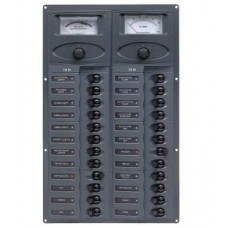 BEP Marinco Contour 24 Circuit Breaker DC Panel - Vertical with 24V Analog Voltmeter and Ammeter (113192 - 905V-AM-24)