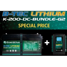 Enerdrive ePOWER Lithium B-TEC 200Ah Battery 12V - Incl Bluetooth Monitoring - Incl DC2DC 40A Charger and MPPT Solar Controller (EPL-200BT-12V-G2+DC40)