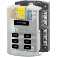 Blue Sea ST Blade Fuse Block - 6 Circuits - Incl. Negative Bus and Cover (BS5025)