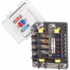 Blue Sea SafetyHub 150 Fuse Block - 4 x High Amp Circuits and 6 x 30A Circuits - Incl. Negative Bus and Cover (BS7748)