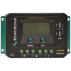 Enerdrive ePOWER PWM 30A Solar Charge Controller - 12 or 24V - 450W Input - 30A Output - LCD Display with Voltage and Amps (EN43030)