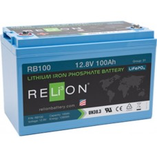 RELiON RB100 Lithium LiFePO4 Battery 100Ah 12V - Complete System incl Battery Management System (RB100)