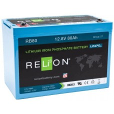 RELiON RB80 Lithium LiFePO4 Battery 80Ah 12V - Complete System incl Battery Management System (RB80)