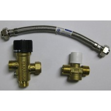 Isotherm Thermostatic Mixing Valve KIT for Regular, Basic, and Slim Hot Water Heaters (From 2007) - Includes Flexible Braided Steel Hose, Mixing Valve and Cross Fitting (SFD00003AB)