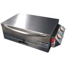 * IN STOCK * Sizzler Deluxe Gas Barbecue - LOW Lid with Window - STAINLESS STEEL HOTPLATE - Suits Camping and Caravans BBQ (Sizzler SS Low/Lid)
