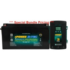 Enerdrive ePOWER Lithium B-TEC 200Ah Battery 12V - Incl Bluetooth Monitoring - Incl 40A AC Battery Charger (EPL-200BT-12V-G2+AC40)