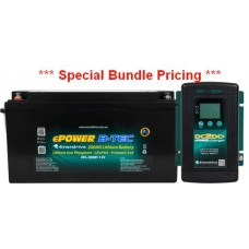 ** SPECIAL BUNDLE PRICE ** Lithium LiFePO4 ePOWER B-Tec Battery Pack 200Ah 12V - Incl 40A DC2DC Charger and MPPT Solar Controller- Bluetooth Monitoring (EPL-200BT+DC40)