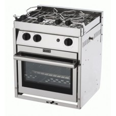 Force 10 - A21 - 2 Burner Gourmet Galley Range - Marine S/S Gimbaled Stove and Oven with Grill - Incl Pot Holders & Gimbals - Made in France (63251)