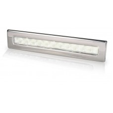 Hella Waiheke White LED Recessed Strip Light with Stainless Rim - 12V - Downlight or Cockpit Lighting (2JA980681001)