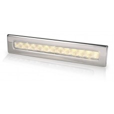 Hella Waiheke Warm White LED Recessed Strip Light with Stainless Rim - 24V - Downlight or Cockpit Lighting (2JA980681601)