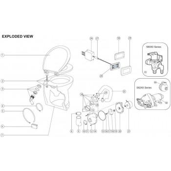 Jabsco Toilet Pump Assembly - 12 Volt - Suits Deluxe Silent Flush Electric Toilet (J16-406)