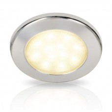Hella EuroLED 115 Series LED Light - Polished 316 Stainless Steel Rim with Warm White LED Light (2JA980820112)