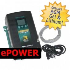 Enerdrive ePOWER Battery Charger - 24 Volt - 30 Amps - 3 Battery Banks - Lithium Ready - Incl Temp Sensor (EN32430)