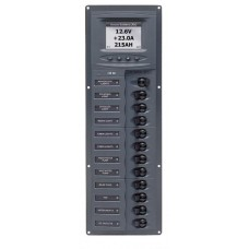 BEP Marinco Contour 12 Circuit Breaker DC Panel - Vertical with Digital Meter (113147 - 902V-DCSM)
